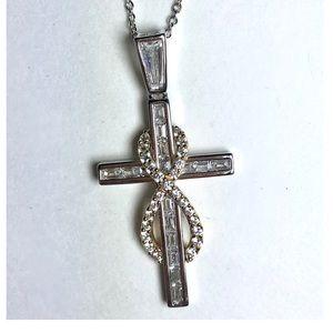 Jewelry - 18k Gold over Sterling CZ Infinity Cross Necklace